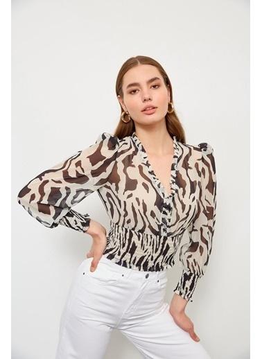 Setre Oranj V Yaka Zebra Bluz Siyah